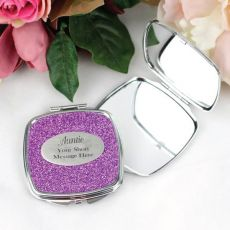 Aunt Personalised Glitter Compact Mirror