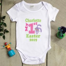 Personalised 1st Easter Bodysuit - Pink Bunny