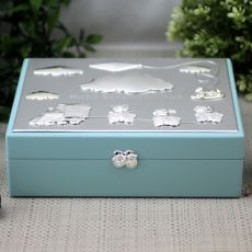 Baby Boy Blue Wood Keepsake Box
