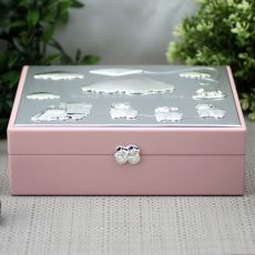 Baby Girl Pink Wood Keepsake Box