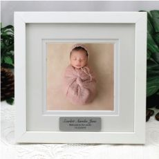 Personalised Baby Instagram Photo Frame 5x5 White/Black Wood