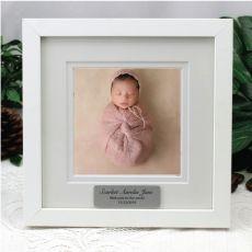 Personalised Baby Instagram Photo Frame 5x5 White/Black Wood