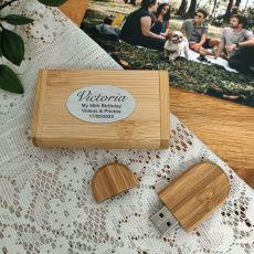 60th Birthday USB flash drive 64GB  with Bamboo Box