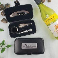 Groomsman 4pce Wine Bottle Accessory Set in Personalised Case