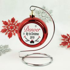 Personalised 1st Christmas Bauble - Red