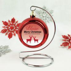 Personalised Christmas Bauble - Red Reindeer