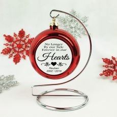 Pet Memorial Christmas Bauble with Quote - Red
