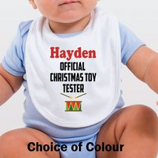 Personalised Christmas Baby Bib - Toy Tester
