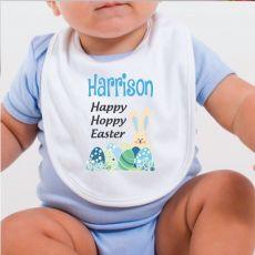 Personalised Happy Easter Bib - Blue