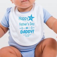 Personalised 1st Fathers Day Bib -Star