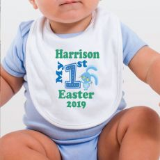 Personalised 1st Easter Bib - Blue Bunny