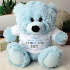 Newborn Personalised Teddy Bear Baby Boy Birth Details