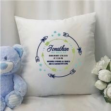 Birth Details Cushion Cover Blue Arrow