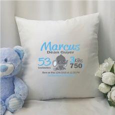 Elephant Birth Details Cushion Cover - Blue