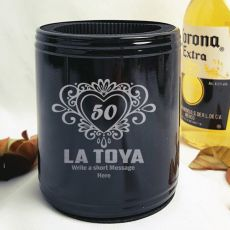 50th Birthday Engraved Black Can Cooler Female Designs