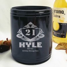 Personalised 21st Black Can Cooler- Male Gift