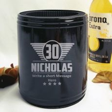 Personalised 30th Black Can Cooler- Male Gift