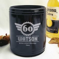Personalised 60th Black Can Cooler - Male Gift