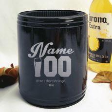 Personalised Black Birthday Can Cooler (M)