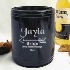 Bride Engraved Black Can Cooler Personalised Message