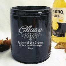 Father Of The Groom Engraved Black Stubby Can Cooler