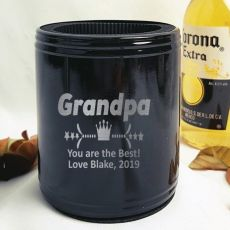Grandpa Engraved Black Can Cooler Personalised Message
