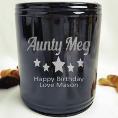 Aunty Engraved Black Can Cooler Personalised Message