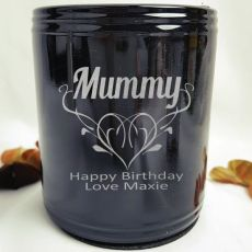 Mum Engraved Black Can Cooler Personalised Message