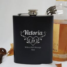 21st Birthday Engraved Personalised Black Hip Flask (F)