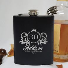 30th Birthday Engraved Personalised Black Hip Flask (F)