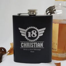 18th Birthday Engraved Personalised Black Hip Flask (M)