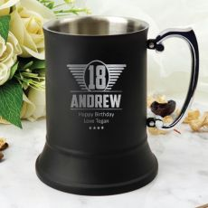 18th Birthday Stainless Steel Black Stein Glass (M)