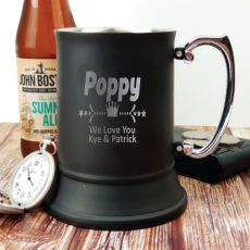 Pop Engraved Stainless Steel Black Beer Stein