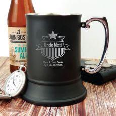 Uncle Engraved Stainless Steel Black Beer Stein