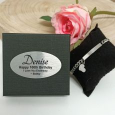 100th Birthday ID Heart Bracelet In Personalised Box