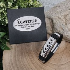 Leather & Steel Herring Bracelet 60th Birthday Gift Box