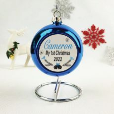 Personalised 1st Christmas Bauble - Blue