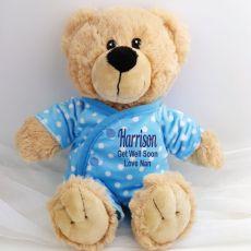 Get Well Teddy in Personalised Pyjamas -Blue