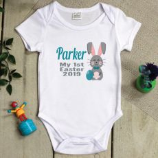 Personalised 1st Easter Bodysuit - Hunter Bunny Blue