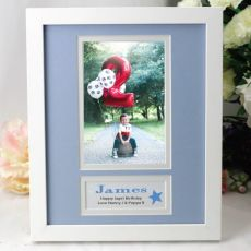 Personalised Birthday  Photo Frame 4x6 White Wood Blue