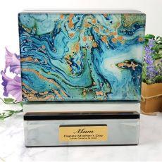 Mum Jewellery Box Glass Mirrored Fortune Of Blue