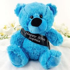 Personalised 30th Birthday Bear with Sash- Bright Blue