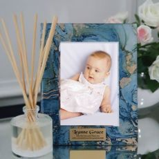 Baptism Personalised Frame 5x7 Photo Glass Fortune Of Blue