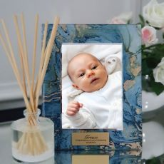 Christening Personalised Frame 5x7 Photo Glass Fortune Of Blue