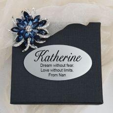 Crystal Flower Fashion Brooch in Personalised Box