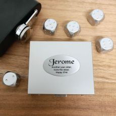 5pce Silver Metal Dice with Personalised Box - 21st