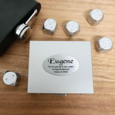 5pce Silver Metal Dice with Personalised Box - Graduation