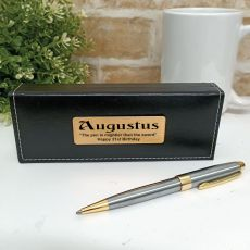 21st Birthday Satin & Gold Twist Pen Personalised Box