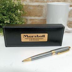 Groomsman Satin & Gold Twist Pen Personalised Box