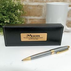 Mum Satin & Gold Twist Pen Personalised Box